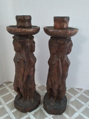 Solid wood hand carved candelabras hand carved for Sale in Miami, FL