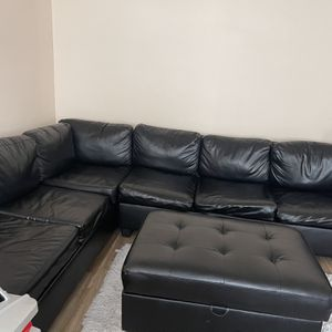 Black Leather Sectional for Sale in Santa Ana, CA