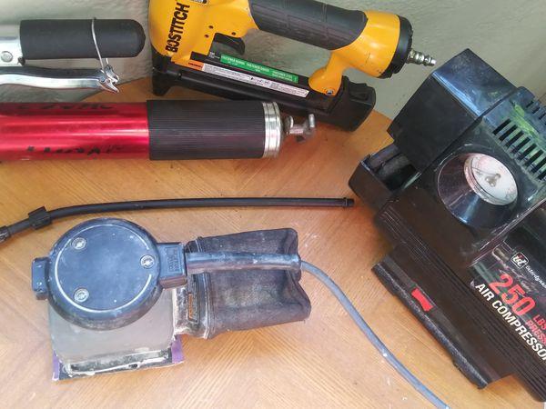 Newest grease gun Porter-Cable angle sander Interdynamics 250 lb of pressure air compressor, bostitch magnesium nail gun