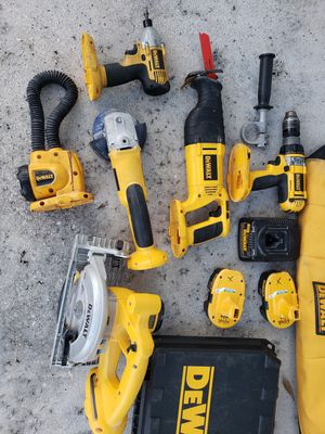 Dewalt 6 tool set with 2 carry cases Hammer Drill Impact drill Circular Saw Saw Zaw Grinder Flash Light 2 batterys Charger for Sale in Pompano Beach, FL
