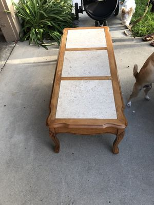 Antique table with a marble inlay 46 x 18 x 16 for Sale in Huntington Beach, CA