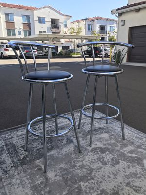 2 barstools with chrome and black leather (price for both) for Sale in Carlsbad, CA