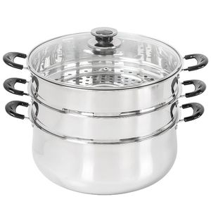 New Stainless steel 3 tier steamer pot / Olla vaporera triple nueva for Sale in Chino, CA