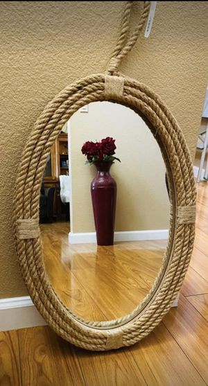 """Rope Oval Mirror with Loop Hanger 24"""" x 16"""" for Sale in Turlock, CA"""