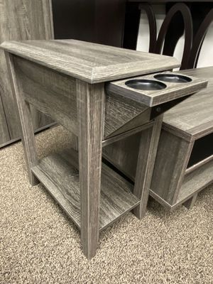 End Table with 2 Cupholder Space , Distressed Grey for Sale in Bell Gardens, CA