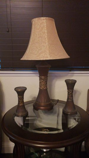 Lamp and matching candle sticks and jar for Sale in Stockton, CA