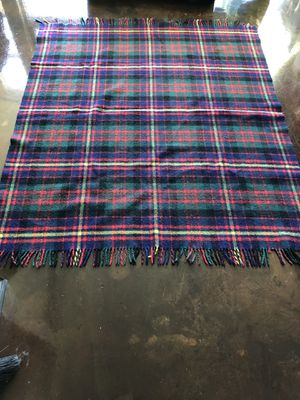 """Archie Brown & Son of Bermuda 100% WOOL PLAID Throw Blanket UK Stadium 66 X 53"""". Some tassels missing, no holes. See pics. for Sale in Washington, DC"""