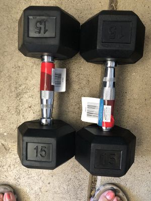 Brand New 15 lb dumbbells set of 2 for Sale in Bartlett, IL