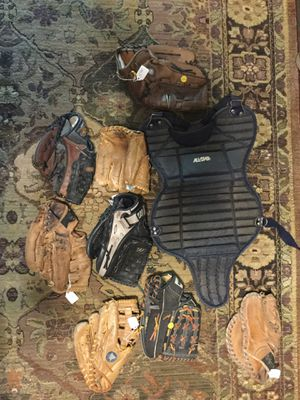 Baseballs gloves and catchers gear for Sale in Garland, TX