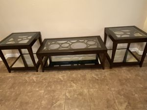 Espresso Glass & Wood Coffee and end tables for Sale in Spring, TX