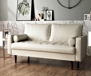 White Tufted Leather Loveseat Sofa Modern Chic for Sale in Brecksville,  OH