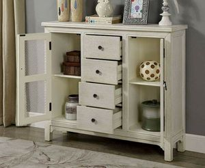 ANTIQUE WHITE HALL CABINET CHEST CONSOLE TABLE STORAGE for Sale in San Diego, CA