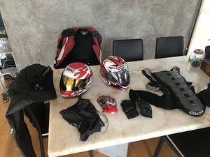 Bunch of motorcycle gear helmets, jacket, pants, gloves, etc for Sale in San Diego, CA