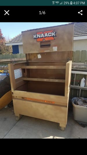 Knaack master chest job box 48 x 49x30 upgraded with casters and gas struts for Sale in Tracy, CA