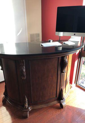 Wooden Bar - Granite Top - Frontgate - 2 Stools for Sale in Arlington, VA