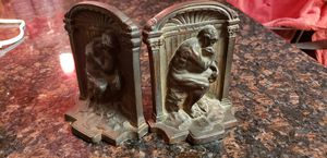 """Vintage Cast Iron """"thinking man"""" Bookends for Sale in Silver Spring, MD"""