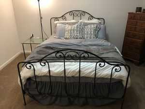 Beautiful Iron Full Sized Bed Frame and Matching Table for Sale in Greenville, NC
