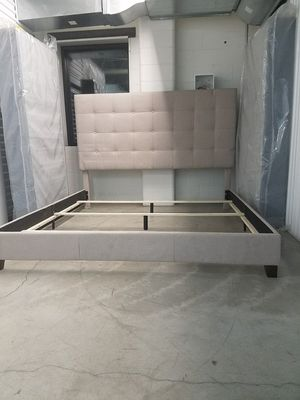 King upholstered bed with new split boxsprings for Sale in Minneapolis, MN