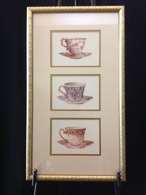 Set of Three Pictures - see attached Tea Cup Pictures and Tea Pot Picture for Sale in Henrico, VA