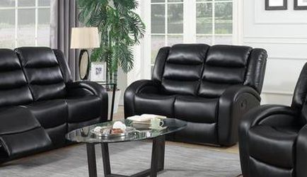 🌼Oniks Black Reclining Sofa & Loveseat & Recliner | U9400 for Sale in College Park,  MD