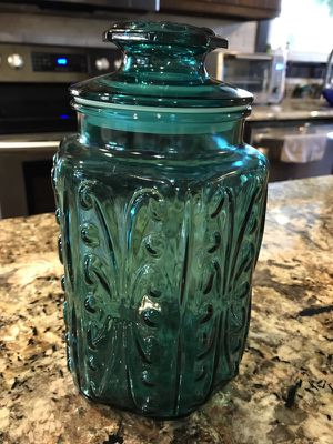 LE Smith collection Teal glass canister with lid for Sale in Irwin, PA