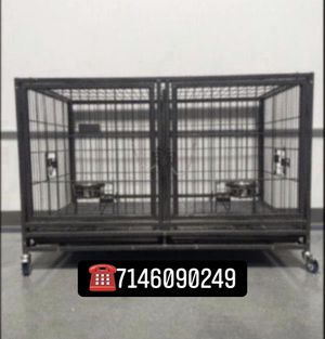 Double doors dog pet cage kennel size 43 large with divider and feeding bowls new in box 📦 for Sale in Rialto, CA