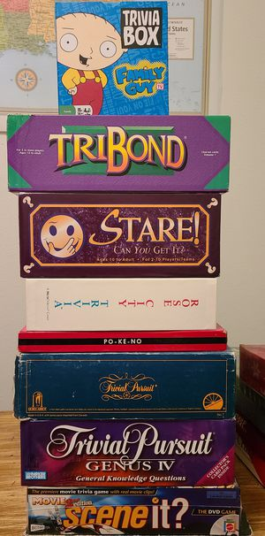 8 Board Games Including Trivial Pursuit and Scene-It for Sale in Fairview, OR