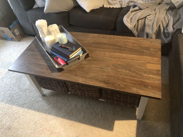 Coffee table with custom built wood top - flexible on price!