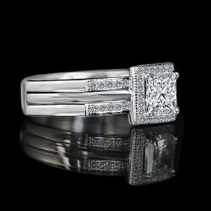 Princess Cut square 1 CT. w/Halo Ring housed in a Double band jacket Simulated Diamond -Diamond Veneer Engagement/Wedding Ring. 635R4012 for Sale in San Francisco, CA