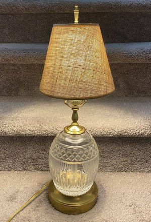Vintage Antique Mid Century Modern MCM Brass Crystal Cut Glass Jar Table Lamp for Sale in Chapel Hill, NC