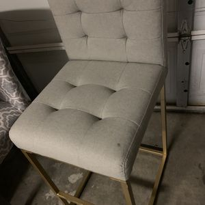 Used Bar Stool : Gray Seat Gold Leg for Sale in Las Vegas, NV