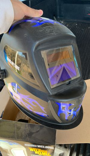 Chicago electric welding helmet blue flames for Sale in Tucson, AZ