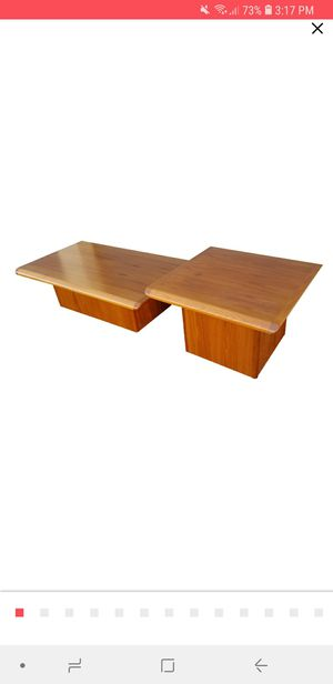 Mid Century Vejle Stole & Mobelfabrik Danish Teak Pedestal Base Coffee Table & End Table. - . for Sale in Phoenix, AZ