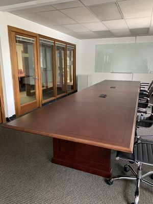 Large Rectangle Conference Table with hookup in middle of table for Sale in Charlottesville, VA