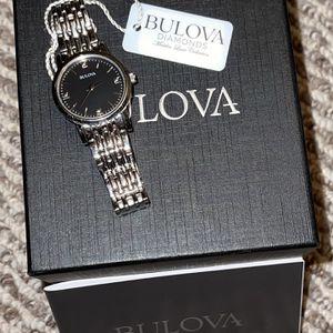 Bulova Women's Diamond Black Dial Stainless Steel Watch for Sale in Sandwich, IL