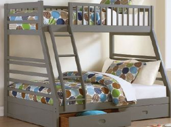 Only $29 Down New Box Gray Color Twin Full Bunk Bed Storage And Mattresses for Sale in College Park,  MD