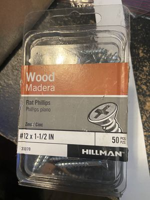 Hillman number 12×1 - 1/2 inch flat wood screws for Sale in Boston, MA