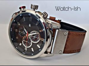 Stylish mens watch, tan strap. Navy and silver for Sale in Revere, MA