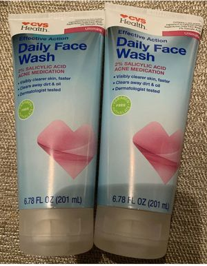 TWO (2) Bottles - CVS Health Effective Action Daily Face Wash 6.78 FL OZ Each for Sale in Harrison, NY