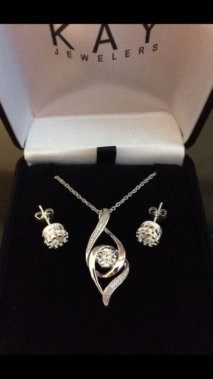 Kay Jeweler Diamond Necklace - 18 in - 925 - Free Earrings - Same Day Ship for Sale in Delray Beach, FL
