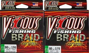 2 Vicious Braid Fishing line 80BL for baitcaster baitcast spinning reels 150 YD for Sale in Litchfield Park, AZ