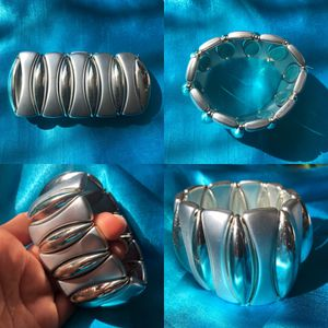 "Silver Bracelet Cuff Stretchy 2"" thick for Sale in Glen Ellyn, IL"