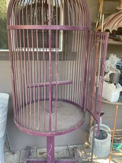 Vintage Wrought Iron Bird Cage On Wheels for Sale in Santa Ana,  CA