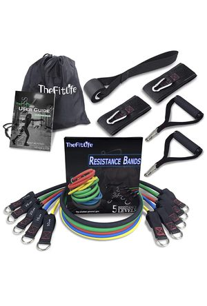 New TheFitLife Exercise and Workout Resistance Bands - Training Tube Set Stackable up to 150 lbs for Indoor and Outdoor Sports, Fitness, Speed Streng for Sale in Sacramento, CA