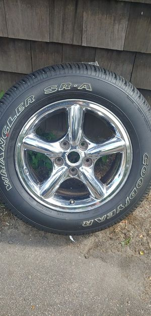 """Brand new 17"""" chrome rim and tire for 03+ jeep grand cherokee for Sale in Brockton, MA"""