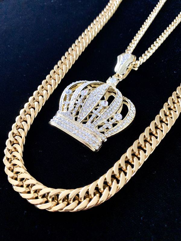 ⭐️ HAPPY VALENTINES DAY PERFECT GIFT!! ⭐️ CROWN 18K GOLD DIAMONDS cz CHAIN MADE IN ITALY