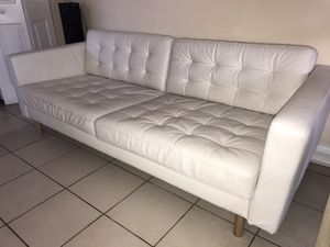 Modern white leather sofa for Sale in Miami, FL