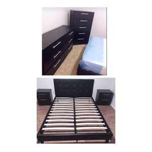 New queen bed frame dresser chest and nightstands mattress is not included for Sale in Pompano Beach, FL