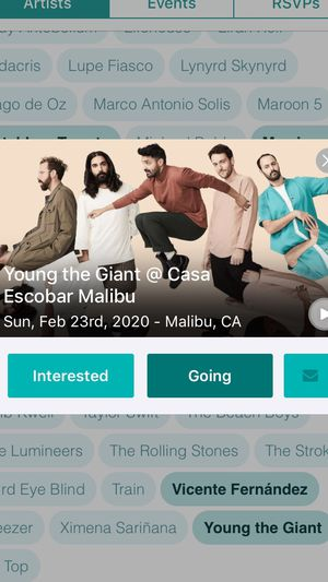 YOUNG THE GIANT concert on 2/23/20. Malibu, ca for Sale in Apple Valley, CA