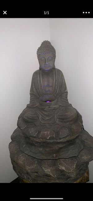 Working lotus Buddha indoor/outdoor fountain with working LED lights for Sale in Winchester, MA